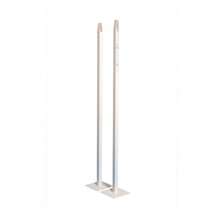 Poteaux de jeu de simple - Acier carré 25x25mm plastifié blanc