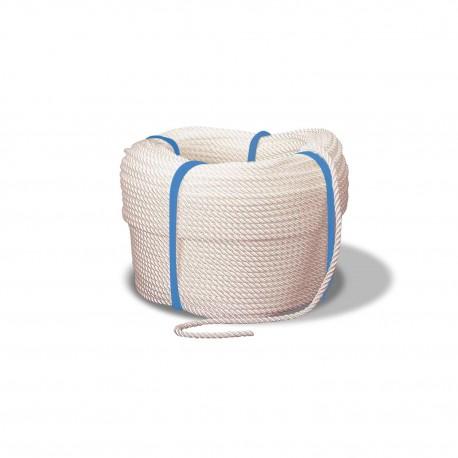 Cordage en polyamide blanc Ø6mm, bobine de 100m,