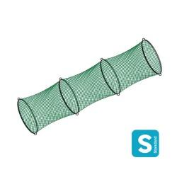 La nasse : tube en filet muni de cercles en acier Ø800mm posés tous les mètres