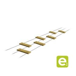 Passerelle chinoise : planche rainurée autoclave classe 4 à poser sur 3 câbles