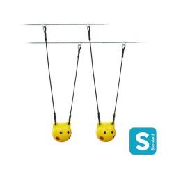 Sphère Ø300mm jaune munie de deux oreilles + sticker