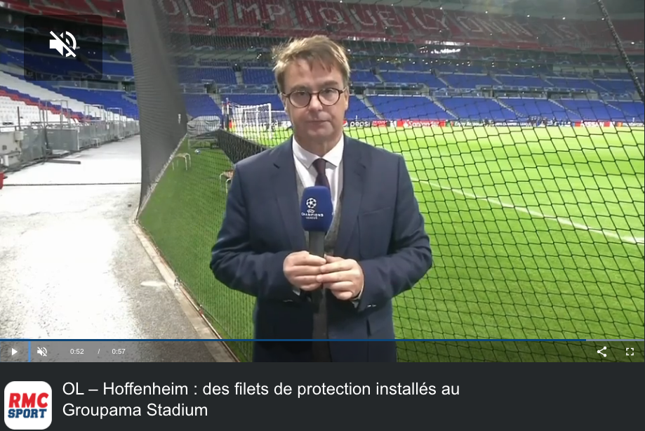 Filet anti-projectiles au Groupama Stadium à Lyon